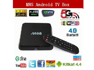 Vensmile Amlogic S812 Quad core android tv box M8S 2.4GHz & 5GHz WIFI XBMC full loaded with 4K HD pl