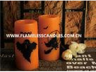 Orange Wax Body Halloween Pattern Electronic LED Candle for Bar Decoration
