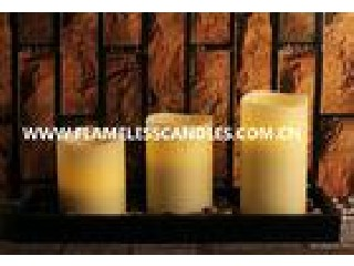 Flameless LED Pillar Candles With Rock And Wooden Tray ,  Ivory Candles