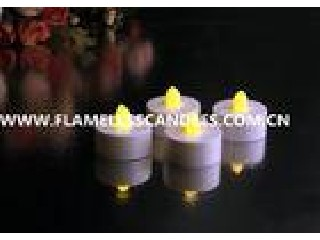 White Body flameless LED Tealight Candles , Plastic LED Candles Set for Christmas or Event