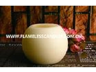 Round Ball Shaped LED Wax Candle With Distressed Finish for Hotel Decoration