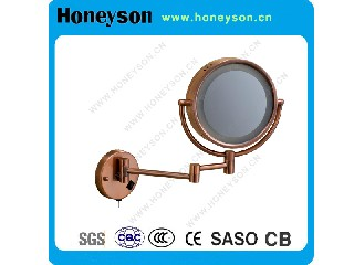"6"" Hotel Red Copper Mirror with LED Light and Wall Mounted Function QL-5236"